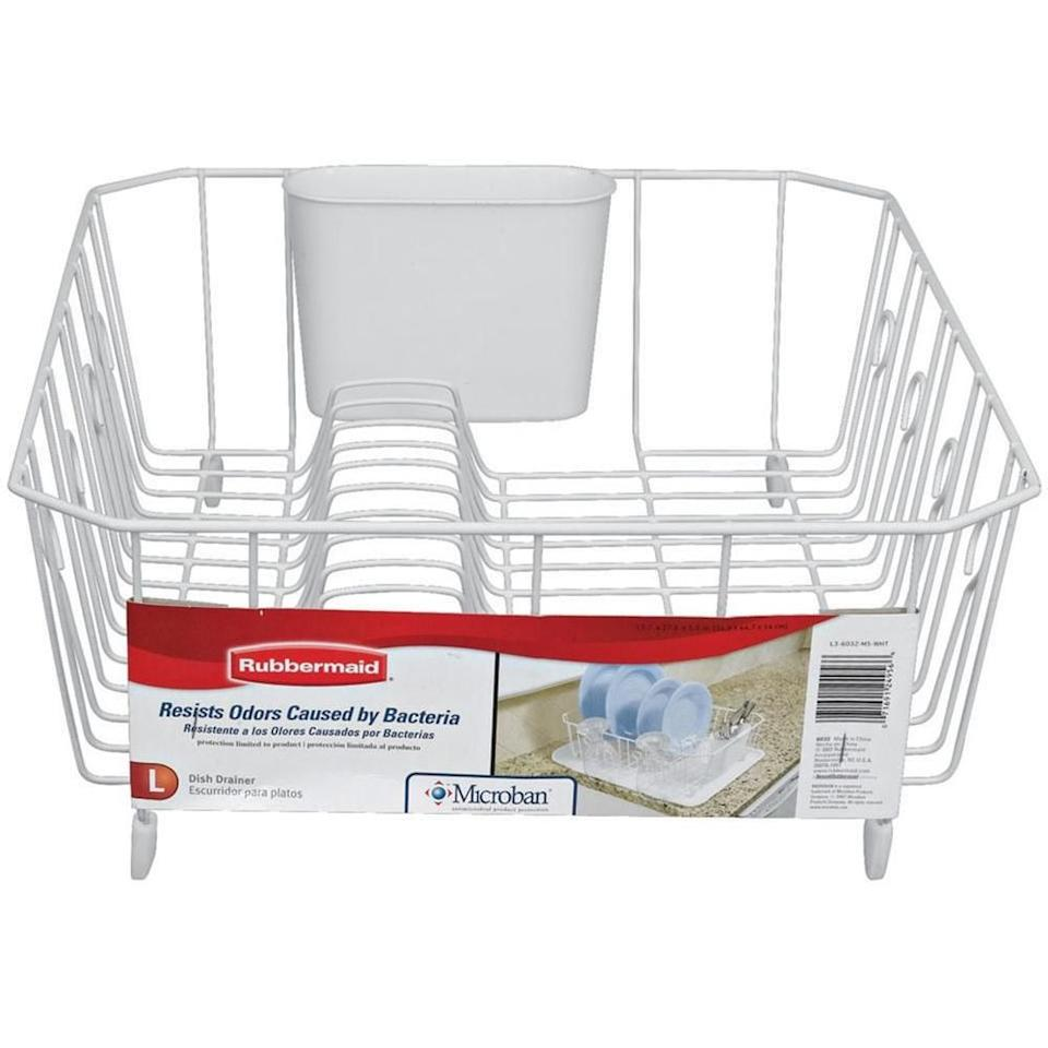 "<p><strong>Rubbermaid</strong></p><p>homedepot.com</p><p><strong>$8.94</strong></p><p><a href=""https://go.redirectingat.com?id=74968X1596630&url=https%3A%2F%2Fwww.homedepot.com%2Fp%2FRubbermaid-Antimicrobial-Large-White-Dish-Drainer-FG6032ARWHT%2F203837183&sref=https%3A%2F%2Fwww.goodhousekeeping.com%2Fhome-products%2Fg33392977%2Fbest-dish-racks%2F"" target=""_blank"">SHOP NOW</a></p><p>Though there's nothing fancy about this utilitarian pick, these drainers do the job. ""We use these in our Good Housekeeping Cleaning Lab dish detergent tests to hold all of our dirty dishes before we wash them,"" says Forte. ""They are <strong>sturdy, well made, and can go in the dishwasher for easy cleaning</strong>."" </p>"