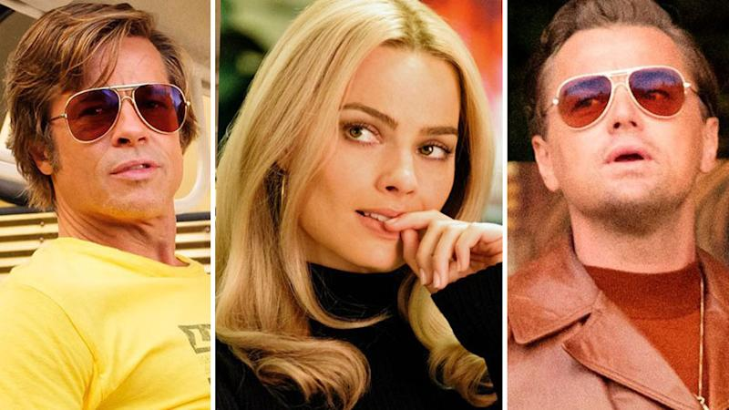 Brad Pitt, Margot Robbie, and Leonardo DiCaprio in Once Upon a time in hollywood movie