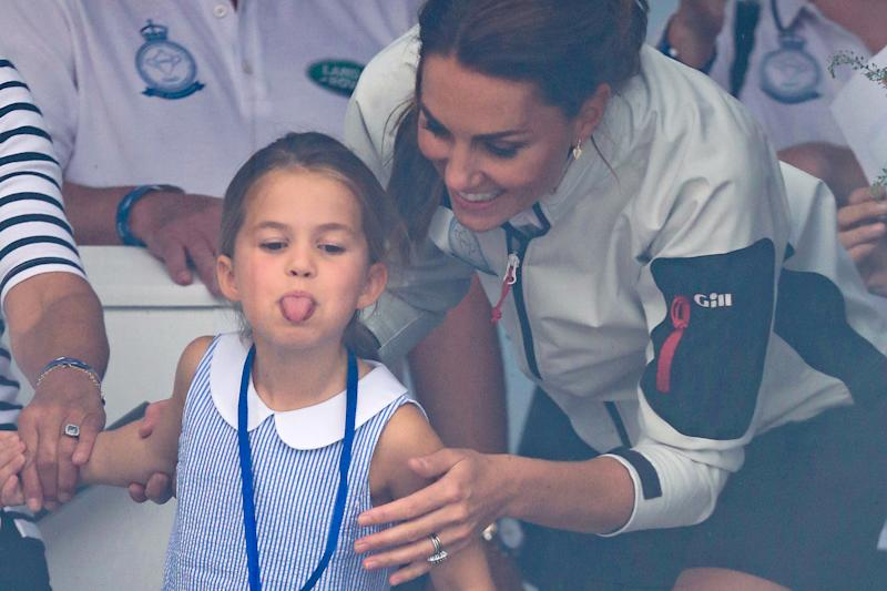 COWES, ENGLAND - AUGUST 08: Princess Charlotte of Cambridge and Catherine, Duchess of Cambridge having fun together after the inaugural King's Cup regatta hosted by the Duke and Duchess of Cambridge on August 08, 2019 in Cowes, England. Their Royal Highnesses hope that The King's Cup will become an annual event bringing greater awareness to the wider benefits of sport, whilst also raising support and funds for Action on Addiction, Place2Be, the Anna Freud National Centre for Children and Families, The Royal Foundation, Child Bereavement UK, Centrepoint, London's Air Ambulance Charity and Tusk. (Photo by Chris Jackson/Getty Images)