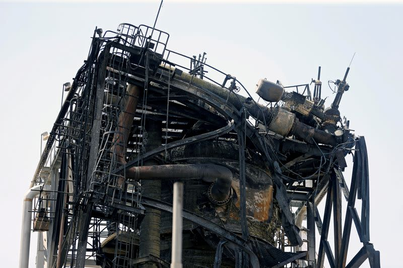 FILE PHOTO: A view of the damaged site of Saudi Aramco oil facility in Khurais