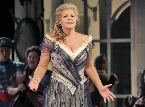 "This June 2013 photo provided by the The Santa Fe Opera shows Susan Graham during a rehearsal of an Offenbach comedy, ""The Grand Duchess of Gerolstein,"" at the Santa Fe Opera in Santa Fe, N.M. (AP Photo/The Santa Fe Opera, Ken Howard)"