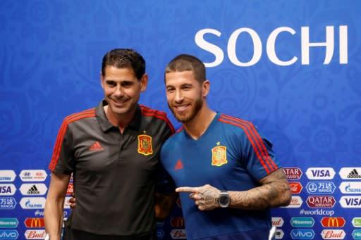 He's the man: Spain captain Sergio Ramos poses with new coach Fernando Hierro