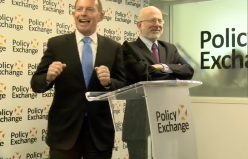 Boris Johnson laughing at the Policy Exchange event.