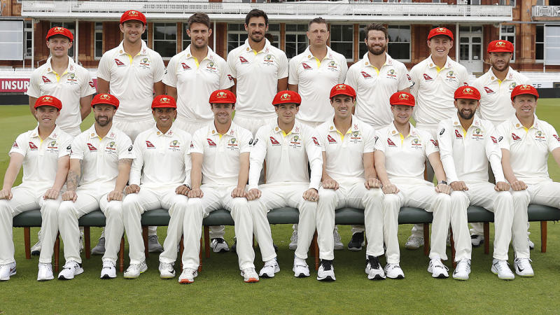 The Aussies pose in their Ruth Strauss Foundation Day red caps and shirts. (Photo by Ryan Pierse/Getty Images)