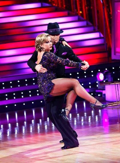 "Shawn Johnson and Mark Ballas perform the Argentine Tango to ""Asi Se Baila El Tango"" by Bailongo on ""Dancing with the Stars."""