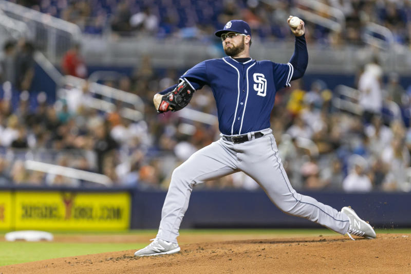 San Diego Padres starting pitcher Logan Allen (54) pitches against the Miami Marlins in the second inning of a baseball game at Marlins Park in Miami on Tuesday, July 16, 2019. (MATIAS J. OCNER/Miami Herald/TNS via Getty Images)