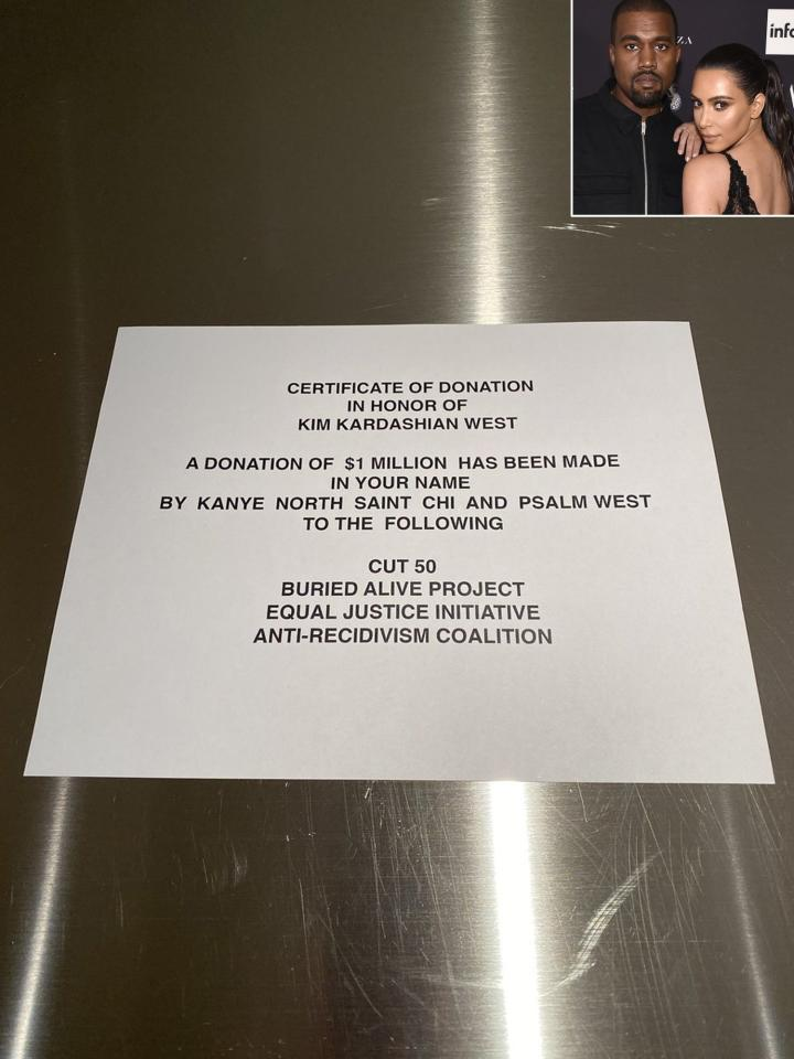 "In addition to gifting Kim some ""<a href=""https://people.com/music/kanye-west-donated-1-million-kim-kardashian-birthday/"">amazing bags</a>"", Kanye <a href=""https://people.com/music/kanye-west-donated-1-million-kim-kardashian-birthday/"">donated $1 million to four different prison reform</a> organizations close to Kim's heart (including #cut50, where <a href=""https://people.com/tv/kim-kardashian-law-achievements-so-far/"">she is reading the law in an apprenticeship</a>) for her birthday. ""This makes my heart so happy!"" Kim tweeted."