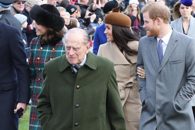 Prince Philip, Prince Harry, Kate Middleton and Meghan Markle on Christmas Day