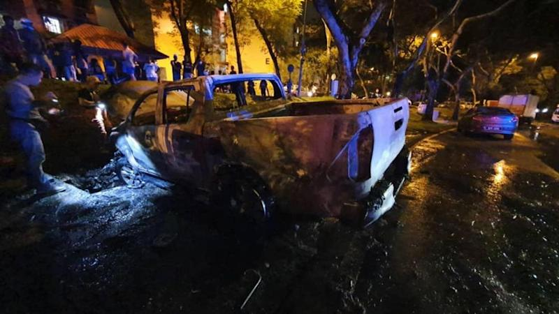 The charred vehicle found abandoned in Damansara, Petaling Jaya. — Picture courtesy of the police