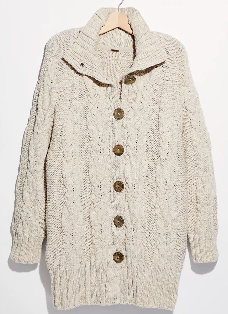 Free People Espresso Cardi in Blanched Pine