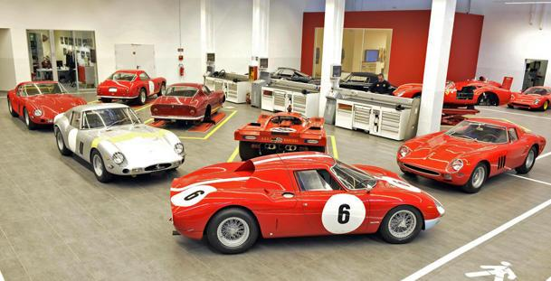 What a garage with $100 million in Ferraris looks like