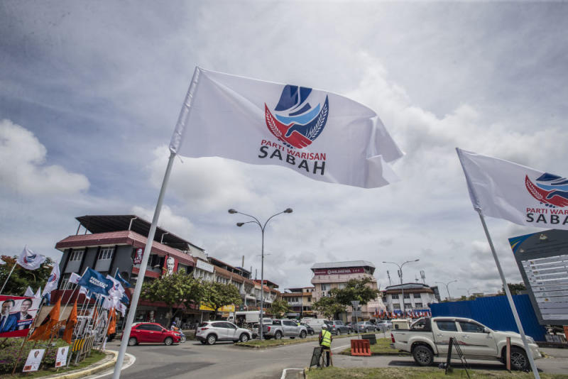 A Parti Warisan Sabah flag is pictured in Luyang, Sabah September 14, 2020. — Picture by Firdaus Latif