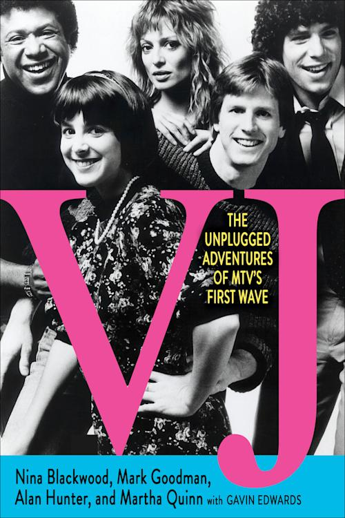 "This book cover image released by Atria Books shows ""VJ: The Unplugged Adventures of MTV's First Wave,"" by Nina Blackwood, Mark Goodman, Alan Hunter, and Martha Quinn. (AP Photo/Atria Books)"