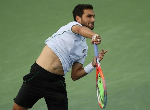 Noah Rubin of the US serves during the BB&T Atlanta Open tournament in Georgia, on July 26, 2018