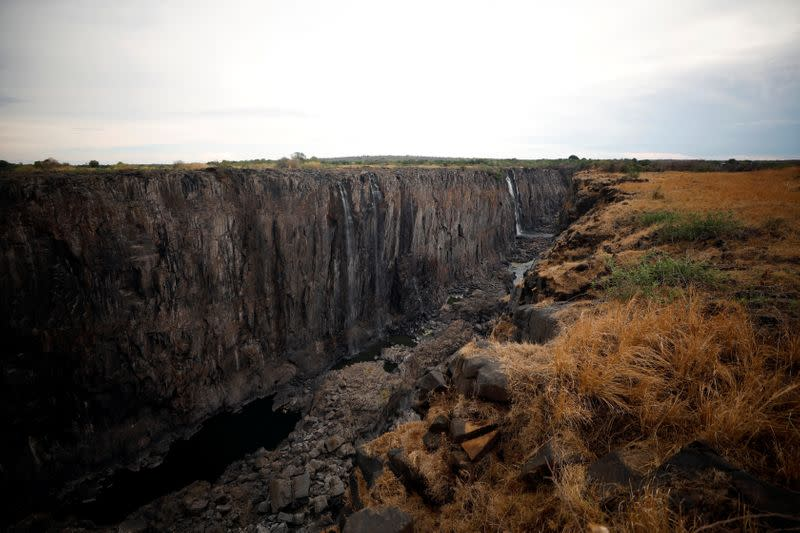 Low-water levels are seen after a prolonged drought at Victoria Falls