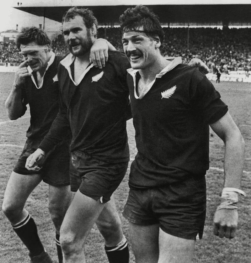 Geoff Old, Haden and Murray Mexted leave the field at Eden Park after completing a 4-0 series whitewash of the Lions in 1983 - Colorsport/Shutterstock