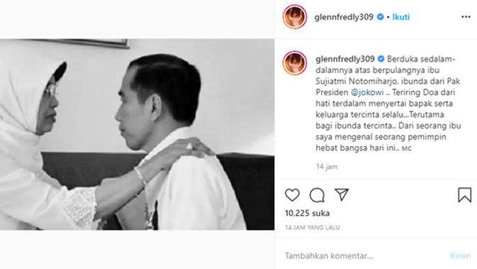Ungkapan duka meninggalnya ibunda Presiden Jokowi dari para artis. (Sumber: Instagram/@glennfredly309)