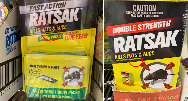A picture of Fast Action Ratsak and another of Double Strength Ratsak. The active ingredient is highlighted in a small circle.