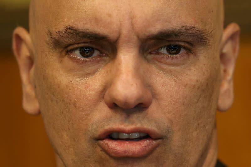 FILE PHOTO: Judge Alexandre de Moraes speaks during meeting in Brasilia