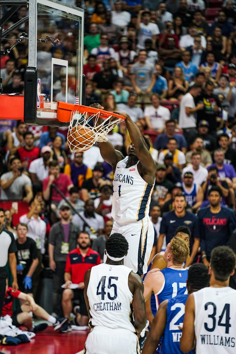 LAS VEGAS, NEVADA - JULY 05: Zion Williamson #1 of the New Orleans Pelicans dunks the ball in during a game against the New York Knicks at NBA Summer League on July 05, 2019 in Las Vegas, Nevada. NOTE TO USER: User expressly acknowledges and agrees that, by downloading and or using this Photograph, user is consenting to the terms and conditions of the Getty Images License Agreement. (Photo by Cassy Athena/Getty Images)