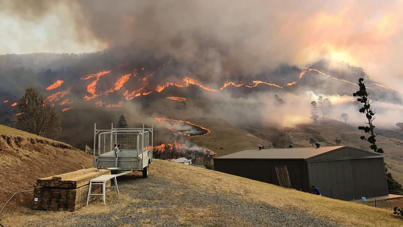 A fire burns in Illinbah, Queensland on Friday. Source: AAP