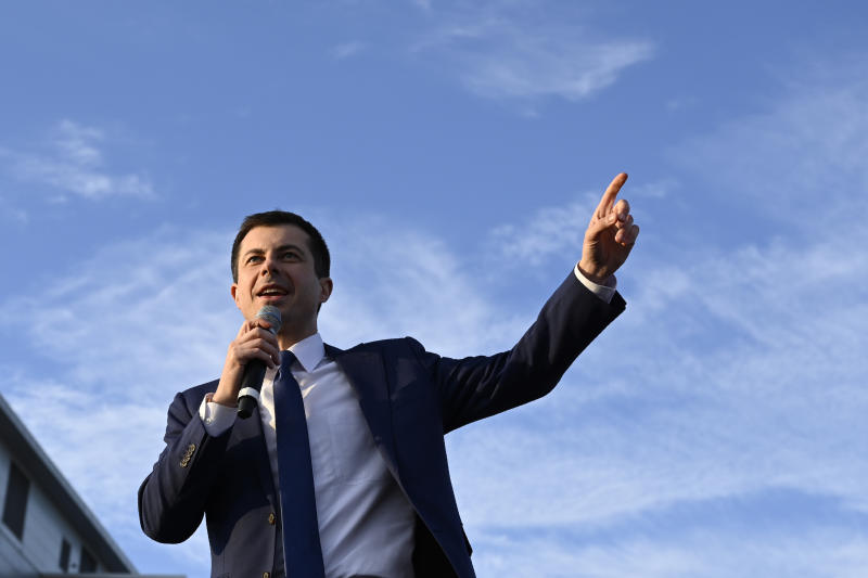Democratic presidential candidate former South Bend, Ind., Mayor Pete Buttigieg speaks at a campaign stop in Arlington, Va., Sunday, Feb. 23, 2020. (AP Photo/Susan Walsh)