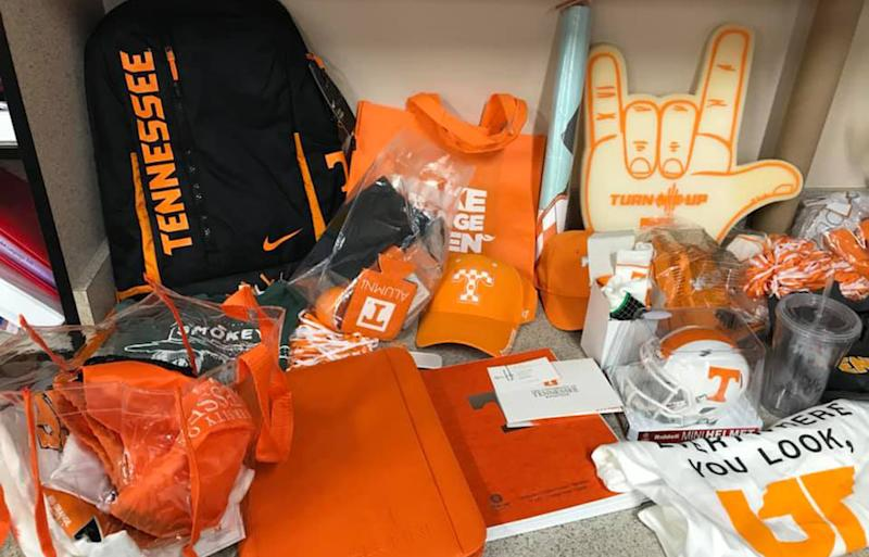 Some of the University of Tennessee swag gifted to the boy and his classmates. Source: Facebook / Laura Snyder