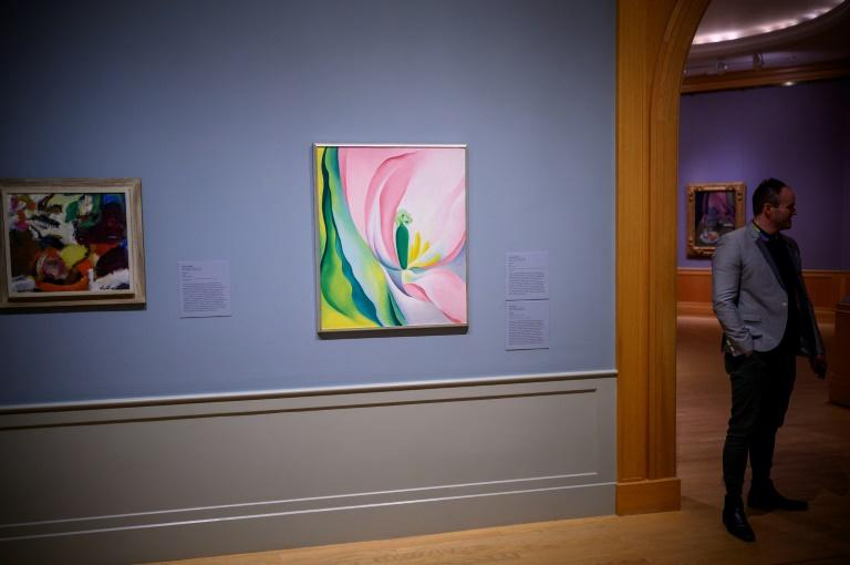 A painting by Georgia O'Keefe hangs in the Baltimore Museum of Art