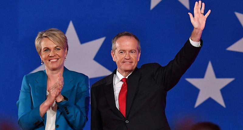 Deputy Opposition Leader Tanya Plibersek (left) and Bill Shorten (right) are seen at the launch of Labor's federal election campaign at the Brisbane Convention and Exhibition Centre on Sunday, May 5, 2019.