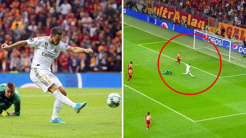 Eden Hazard rounding the goal keeper but missing an open goal against Galatasaray in the Champions League.