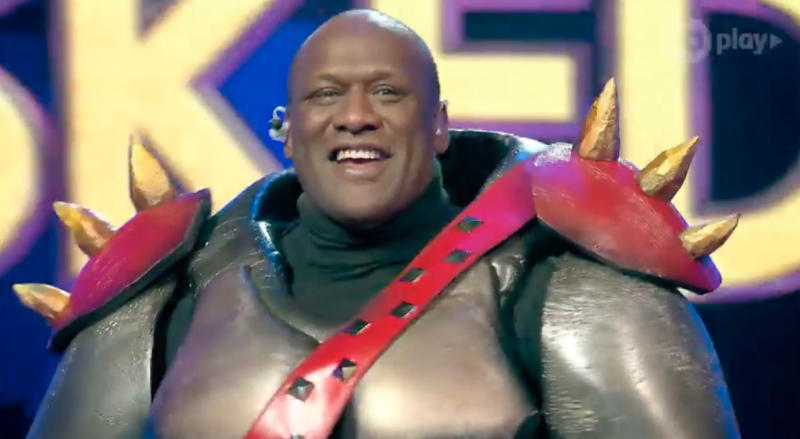Did you guess correctly? Wendell Sailor was unmasked as the Rhino in episode four of The Masked Singer. Photo: Channel 10.