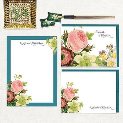 WHITE PEONY flower peonies botanical personalized notePAD floral stationary custom stationery