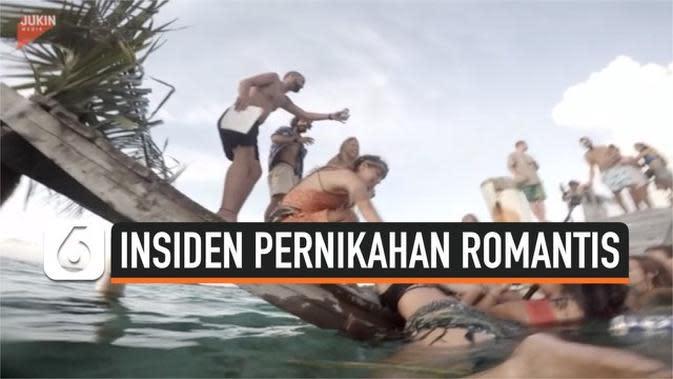 VIDEO: Momen Dermaga Rubuh di Tengah Pernikahan Romantis Tepi Laut