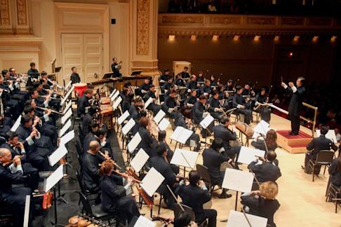 Yan Huichang leads the Hong Kong Chinese Orchestra at Carnegie Hall, before the arrival of Covid-19. Photo: Getty Images