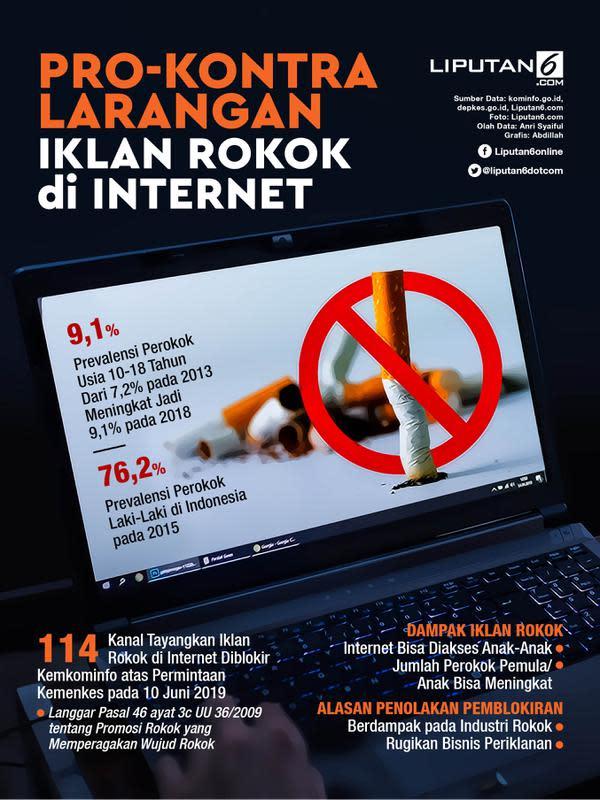Infografis Pro-Kontra Larangan Iklan Rokok di Internet. (Liputan6.com/Abdillah)