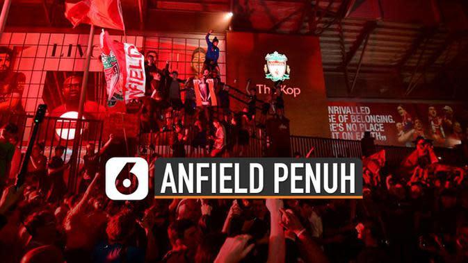 VIDEO: Liverpool Juara, Suporter Tumpah Ruah di Anfield