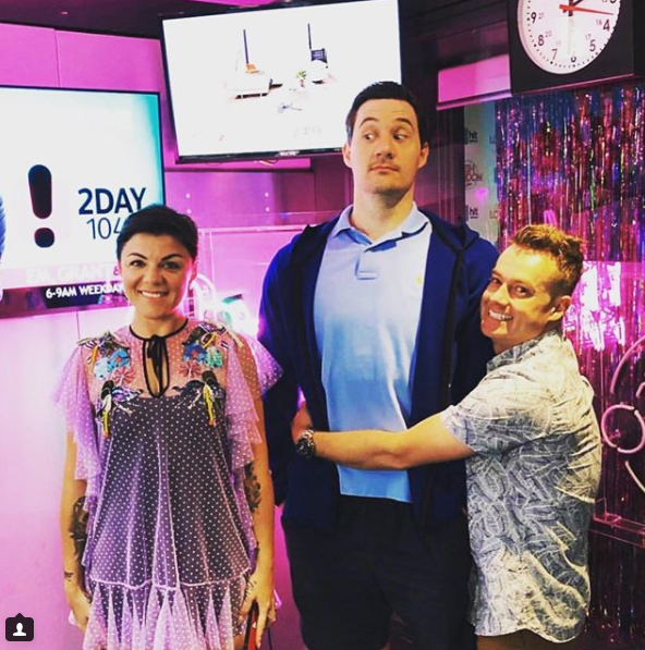 Grant's co-hosts Em Rusciano and Ed Kavalee were behind the hilarious prank. Source: Instagram/GrantDenyer