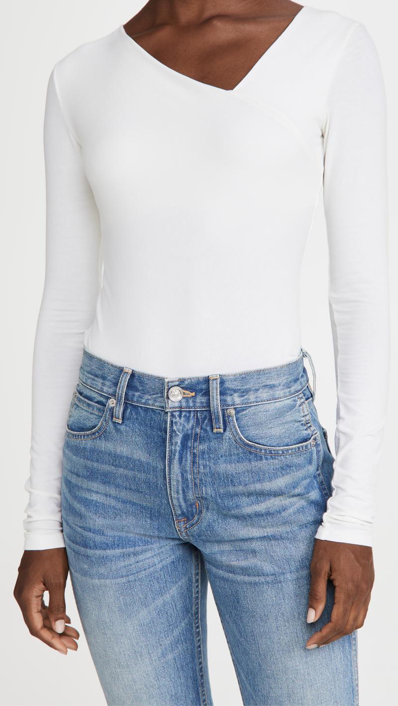 Enza Costa Brushed Pima Cotton Asymmetrical Neck Top. Image via Shopbop.