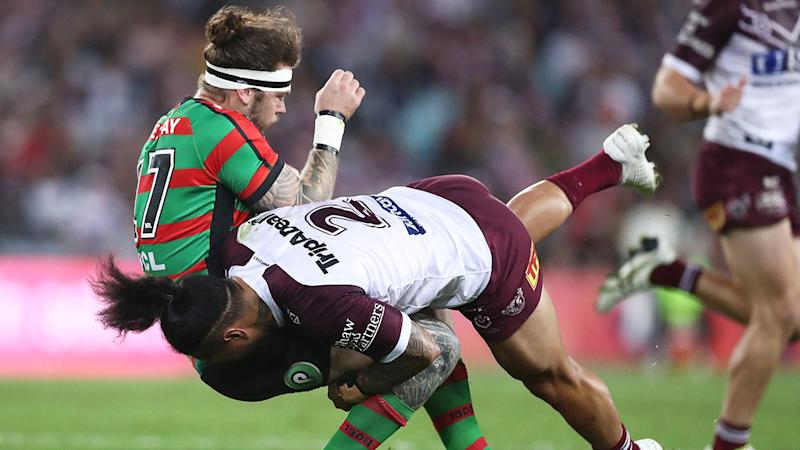 Jorge Taufua smashed Ethan Lowe twice in Manly's semi-final defeat to the Rabbitohs.