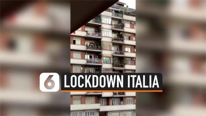 VIDEO: Nyanyi Syahdu Warga Roma Dalam Karantina Virus Corona