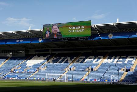 Soccer Football - Premier League - Leicester City v Burnley - King Power Stadium, Leicester, Britain - November 10, 2018  General view of a message displayed in the stadium, in memory of the club's late owner Thai businessman Vichai Srivaddhanaprabha who died along with four other people when the helicopter they were travelling in crashed as it left the ground after their last home match  Action Images via Reuters/Craig Brough/Files
