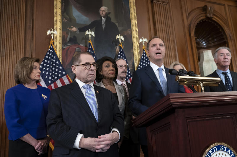 "From left, Speaker of the House Nancy Pelosi, D-Calif., House Judiciary Committee Chairman Jerrold Nadler, D-N.Y., House Financial Services Committee Chairwoman Maxine Waters, D-Calif., House Foreign Affairs Committee Chairman Eliot Engel, D-N.Y., House Intelligence Committee Chairman Adam Schiff, D-Calif., and House Ways and Means Committee Chairman Richard Neal, D-Mass., announce they are pushing ahead for two articles of impeachment against President Donald Trump ""abuse of power and obstruction of Congress"" charging he corrupted the U.S. election process and endangered national security in his dealings with Ukraine, at the Capitol in Washington, Tuesday, Dec. 10, 2019. (J. Scott Applewhite/AP)"