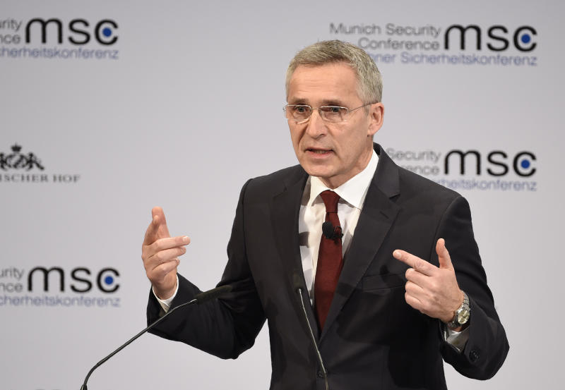 NATO Secretary General Jens Stoltenberg speaks on the second day of the Munich Security Conference in Munich, Germany, Saturday, Feb. 15, 2020. (AP Photo/Jens Meyer)