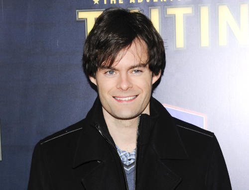 "FILE - This Dec. 11, 2011 file photo shows actor Bill Hader attends the premiere of ""The Adventures of Tintin"" in New York. Hader is leaving ""Saturday Night Live"" after an eight-year run. His spokesman confirms the 34-year-old comedian will depart ""SNL"" after this weekend's season finale. (AP Photo/Evan Agostini, file)"