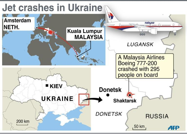 Map locating Saktarsk in Ukraine where a Malaysia Airlines jet crashed
