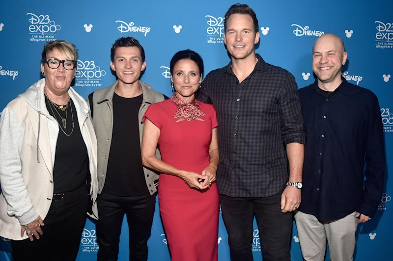 ANAHEIM, CALIFORNIA - AUGUST 24: (L-R) Producer Kori Rae, Tom Holland, Julia Louis-Dreyfus, Chris Pratt, and Director Dan Scanlon of 'Onward' took part today in the Walt Disney Studios presentation at Disney's D23 EXPO 2019 in Anaheim, Calif. 'Onward' will be released in U.S. theaters on March 6, 2020. (Photo by Alberto E. Rodriguez/Getty Images for Disney)