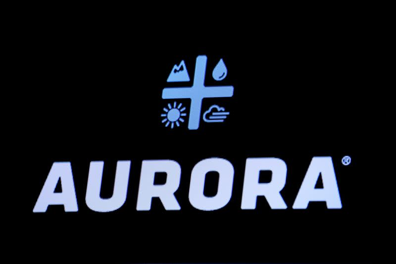 The Logo for Aurora Cannabis Inc., a Canadian licensed cannabis producer, is displayed on a screen on the floor of the NYSE in New York