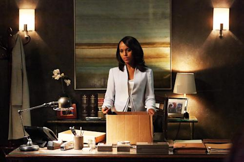 "This undated publicity photo released by ABC shows Kerry Washington as Olivia Pope in a scene from the season finale, ""White Hat's Back On,"" from ABC Television Network's show, ""Scandal."" This third season for ""Scandal"" will be cut by four episodes to 18. The show airs 10 p.m. ET on Thursdays. (AP Photo/ABC, Richard Cartwright)"