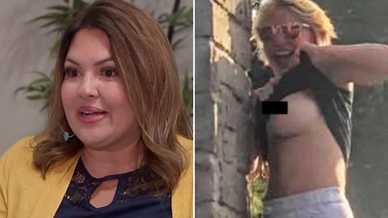Monica Davila (left) said she was offended by the photobombing woman's actions (right) at Garner State Park.