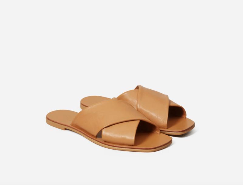 The Day Crossover Sandal in Caramel. Image via Everlane.